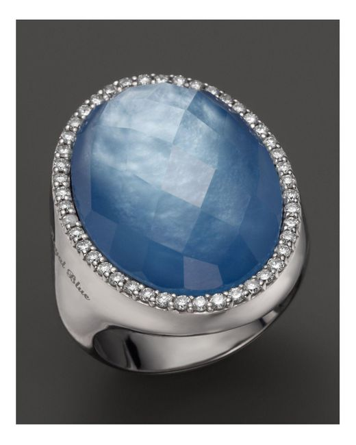 Roberto Coin | White Lapis And Mother-of-pearl Triplet Cocktail Ring With Diamonds | Lyst