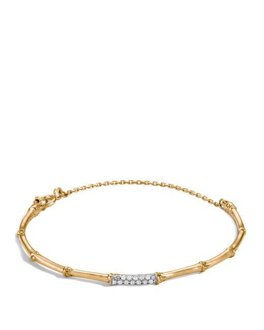 John Hardy | Metallic Bamboo 18k Yellow Gold Diamond Pave Slim Bracelet | Lyst