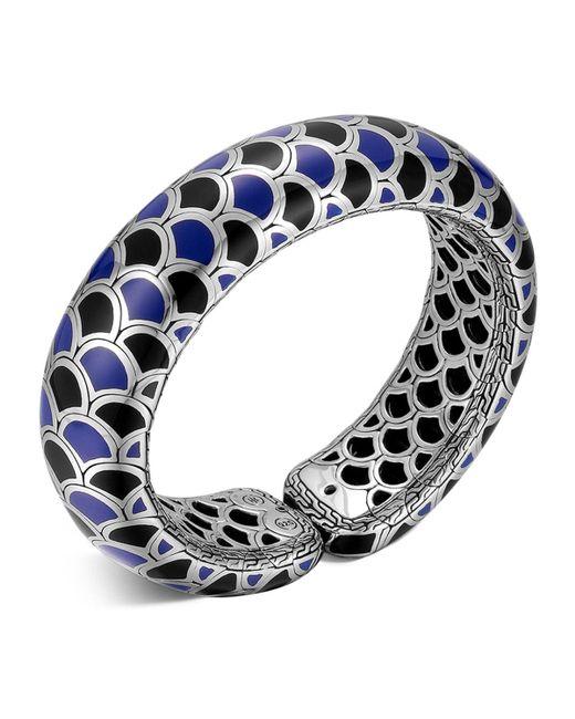 John Hardy   Metallic Naga Sterling Silver Blue And Black Enamel Scale Cuff   Lyst