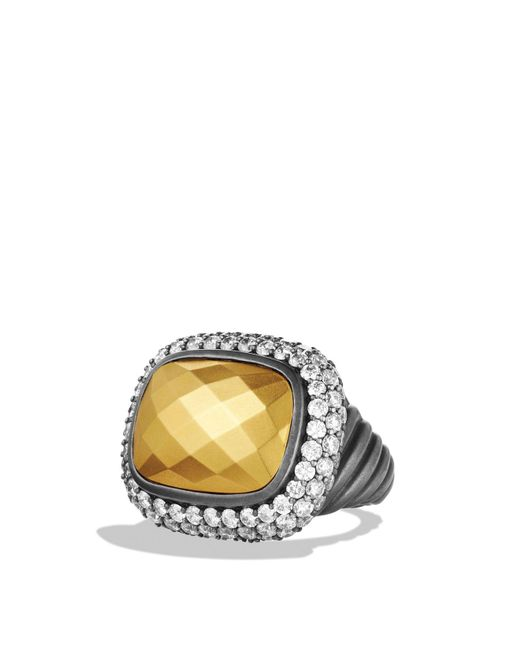 David Yurman | Metallic Waverly Ring With Gold Dome & Diamonds for Men | Lyst