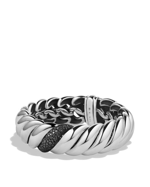 David Yurman | Metallic Hampton Cable Narrow Bracelet With Black Diamonds | Lyst