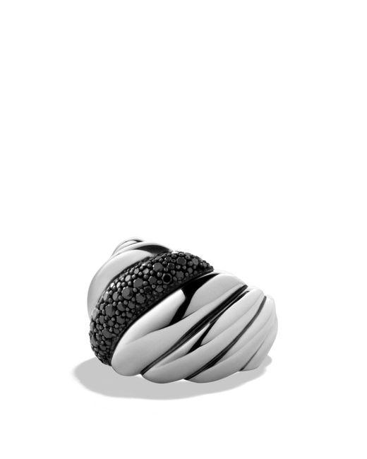 David Yurman | Metallic Hampton Cable Ring With Black Diamonds | Lyst