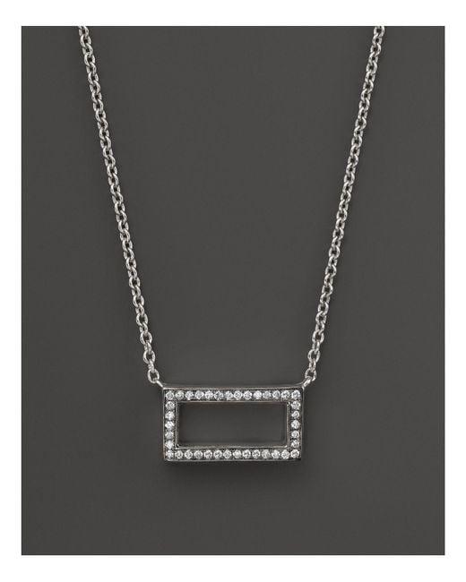 "Ippolita | Metallic Sterling Silver Stella Rectangular Diamond Pendant Necklace, 16"" | Lyst"