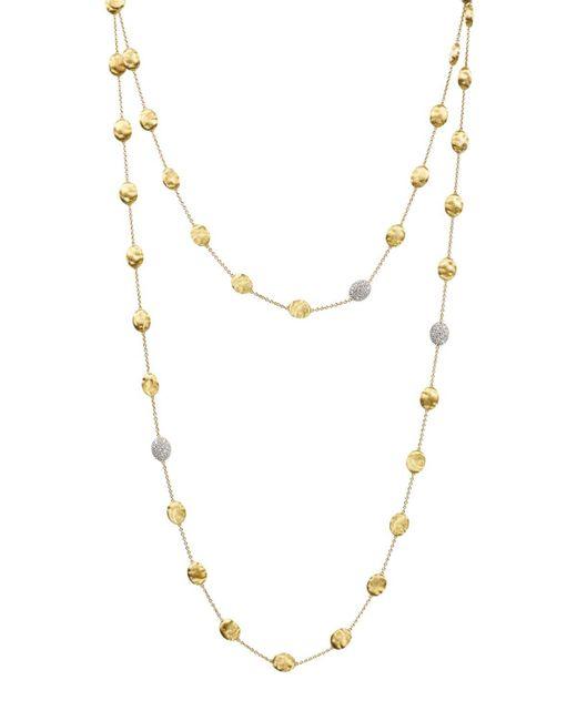 "Marco Bicego | Metallic Siviglia 18k Yellow Gold Necklace With Diamond Stations, 49.5"" | Lyst"
