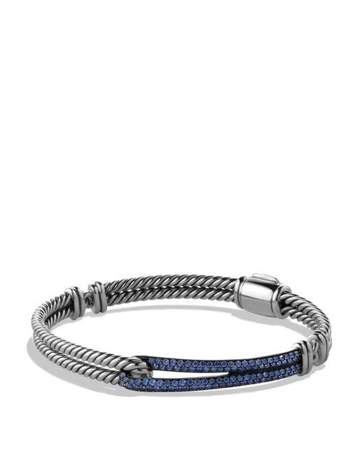 David Yurman | Metallic Petite Pavé Labyrinth Single Loop Bracelet With Blue Sapphires | Lyst