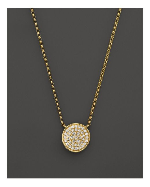 "KC Designs | White Diamond Pave Disc Pendant Necklace In 14k Yellow Gold, 17.5"" - 100% Exclusive 
