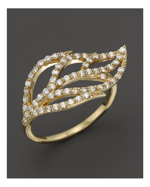 KC Designs | Metallic Diamond Leaf Ring In 14k Yellow Gold | Lyst