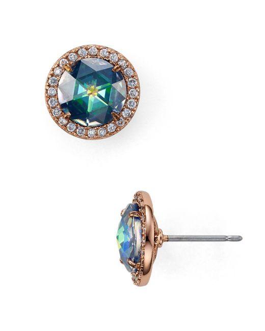 Kate Spade - Blue Pavé Halo Stud Earrings - Lyst