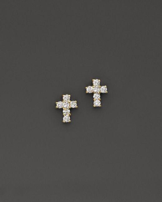 KC Designs - Metallic Diamond Small Cross Stud Earrings In 14k Yellow Gold - Lyst