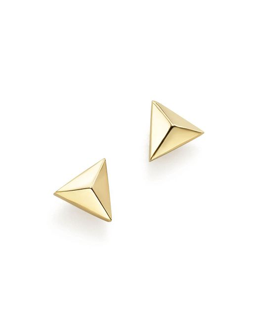 Zoe Chicco - Metallic 14k Yellow Gold Triangle Pyramid Stud Earrings - Lyst