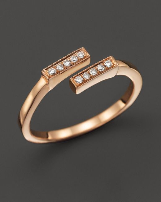 Dana Rebecca   Pink 14k Rose Gold And Diamond Double Bar Ring, .07 Ct. T.w.   Lyst
