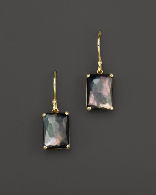 Ippolita | 18k Gold Rock Candy Gelato Single Rectangle Drop Earrings In Black Shell | Lyst