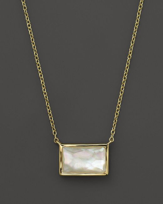 Ippolita | White 18k Gold Gelato Small Baguette Station Necklace In Mother-of-pearl, 16"