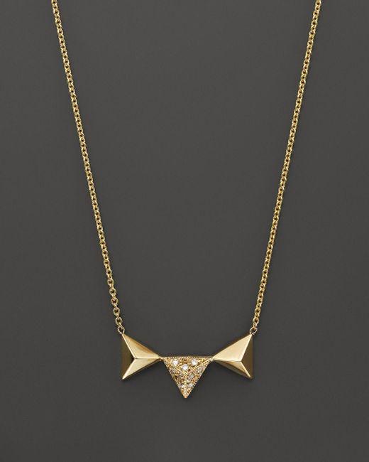 Zoe Chicco | Metallic 14k Yellow Gold Three Triangle Pyramid Pendant Necklace With Diamonds, .05 Ct. T.w. | Lyst