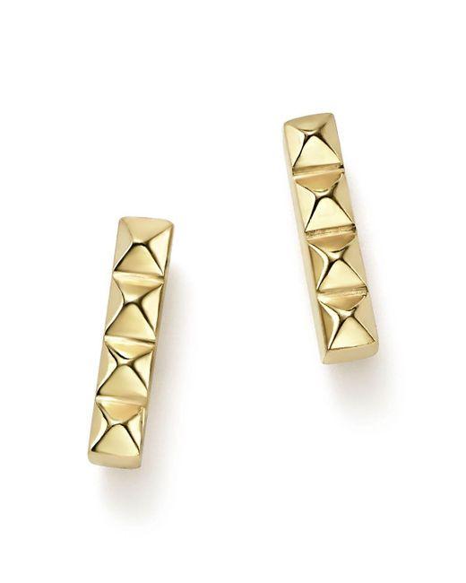 Zoe Chicco   Metallic 14k Yellow Gold Spiked Bar Stud Earrings   Lyst