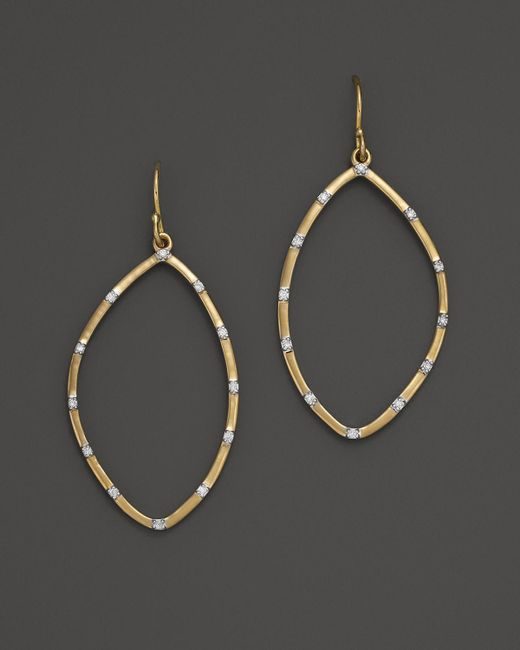 Kara Ross | Metallic 18k Yellow Gold Small Hydra Outline Earrings With Pave Diamonds | Lyst