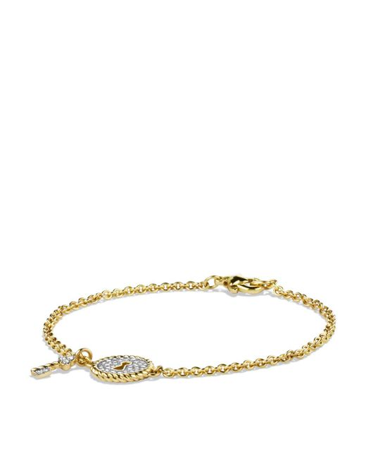 David Yurman | Metallic Cable Collectibles Pavé Lock & Key Charm Bracelet With Diamonds In Gold | Lyst