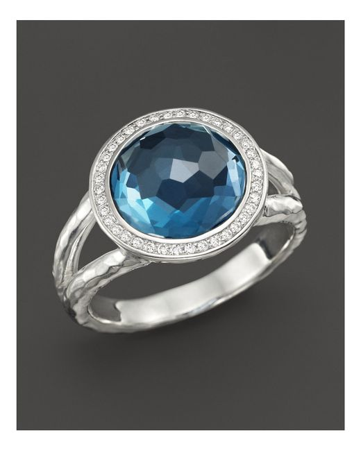 Ippolita | Metallic Sterling Silver Stella Mini Lollipop Ring In London Blue Topaz With Diamonds | Lyst
