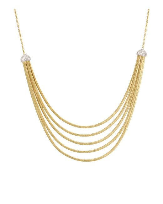Marco Bicego | Metallic 18k Yellow Gold Cairo Five Strand Necklace With Diamonds, 16.5"