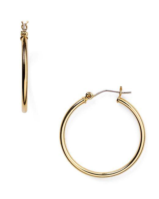 Ralph Lauren | Metallic Lauren Medium Thin Hoop Earrings | Lyst