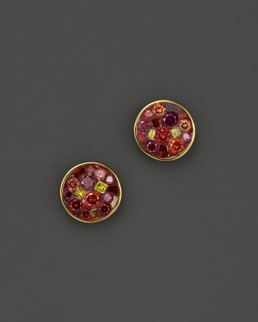 Plevé | Purple 18k Yellow Gold Berry Mosaic Mini Button Stud Earrings With Diamonds | Lyst