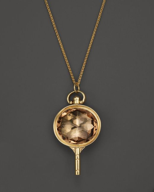 Monica Rich Kosann | Metallic 18k Yellow Gold Oval Pocketwatch Key Charm Necklace With Champagne Quartz And Moonstone, 26"