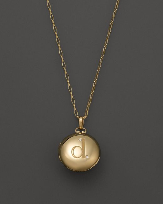 Monica Rich Kosann | 18k Yellow Gold Petite Diamond Initial Locket Necklace, 30"