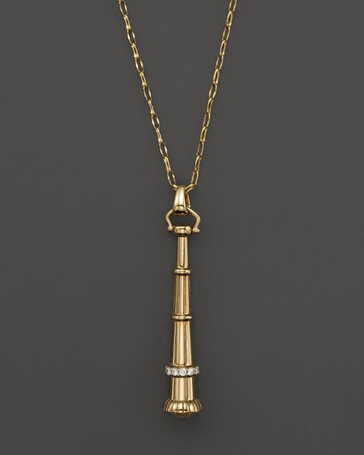"Monica Rich Kosann | Metallic 18k Yellow Gold Telescope Charm Necklace, 30"" | Lyst"