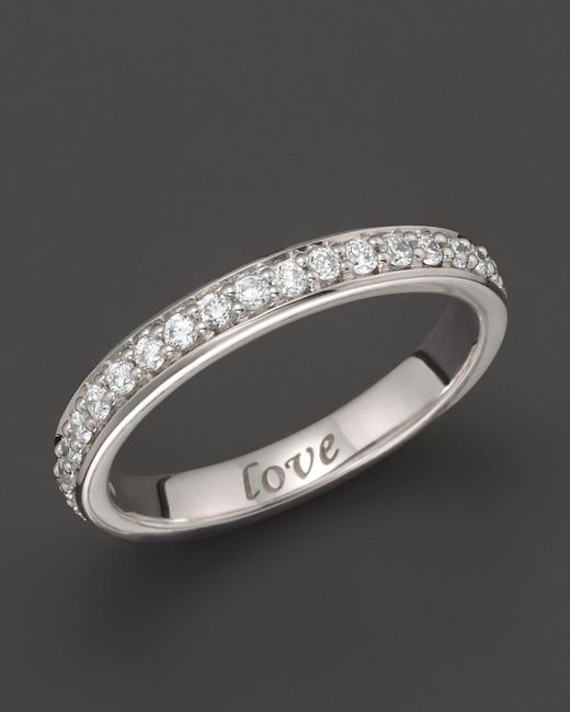 "Monica Rich Kosann   18k White Gold ""love"" Posey Ring With Diamonds   Lyst"