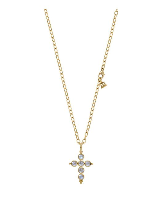 Temple St. Clair | Metallic 18k Yellow Gold Small Cross Pendant With Royal Blue Moonstone | Lyst