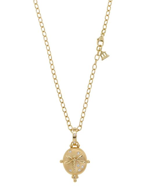 Temple St. Clair | Metallic 18k Small Dragonfly Locket With Diamonds | Lyst