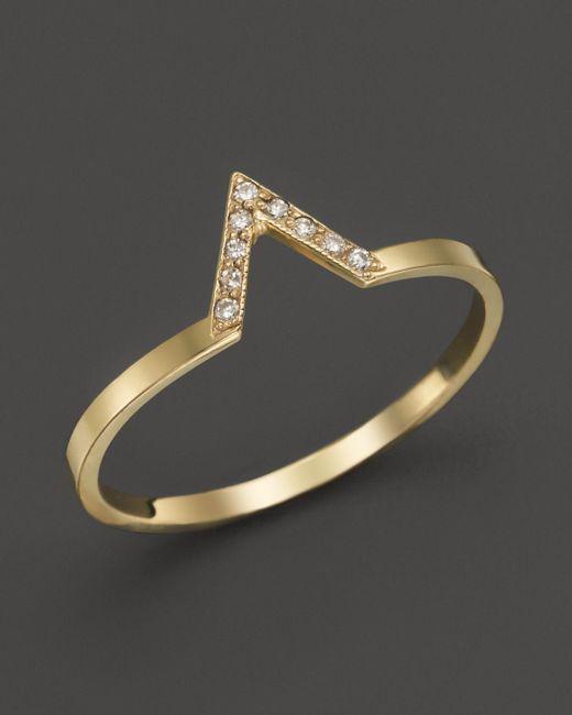 Zoe Chicco | Metallic 14k Yellow Gold Pave Diamond Small V Ring | Lyst