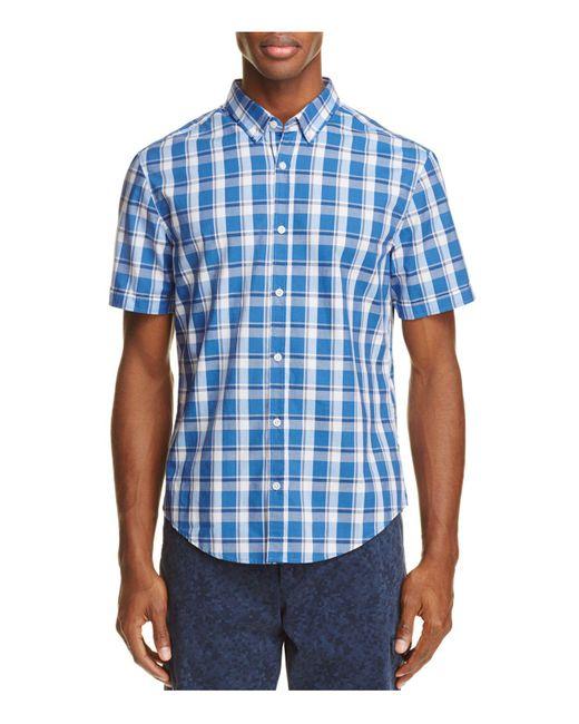 BOSS Green | Blue C-baldasarino Plaid Regular Fit Button-down Shirt for Men | Lyst