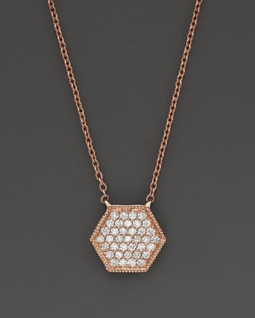"Dana Rebecca   Pink 14k Rose Gold Jennifer Yamina Necklace With Diamonds, 16""   Lyst"