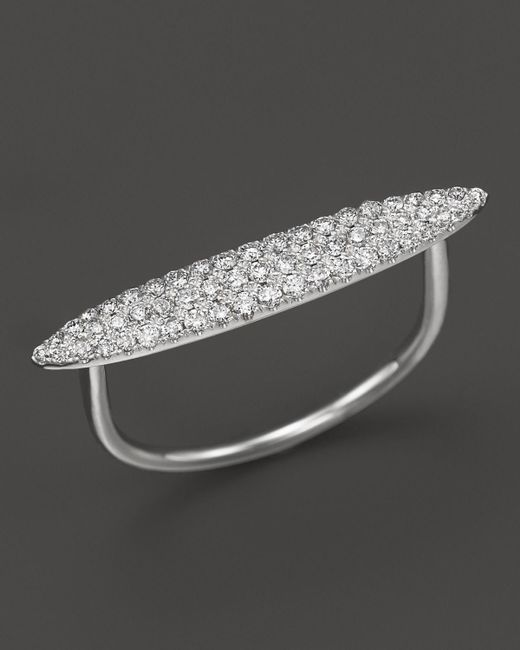 Meira T | 14k White Gold Elongated Oval Pave Diamond Ring, .34 Ct. T.w. | Lyst
