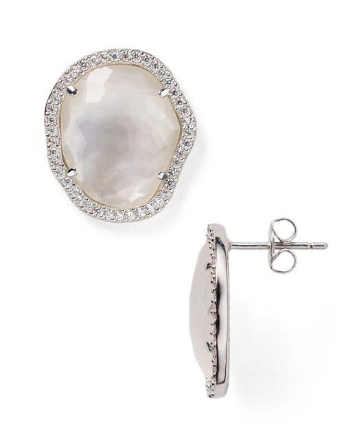 Nadri | Metallic Sterling Silver & Mother Of Pearl Button Stud Earrings | Lyst