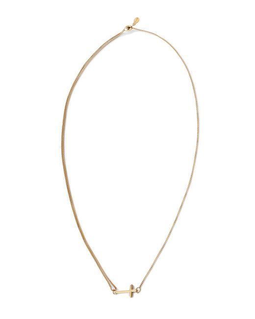 ALEX AND ANI | Metallic Precious Metals Symbolic Cross Pull Chain Necklace, 10-24"