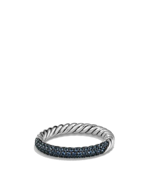 David Yurman | Metallic Petite Pavé Ring With Blue Sapphires | Lyst