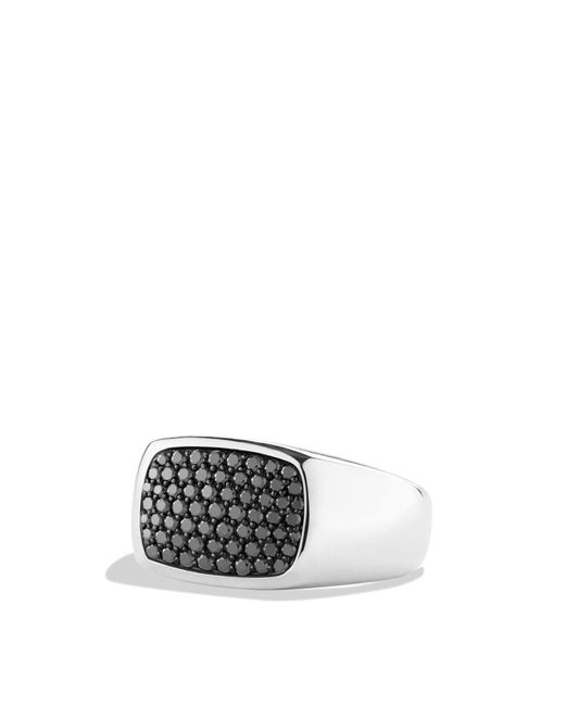 David Yurman | Metallic Pavé Signet Ring With Black Diamonds for Men | Lyst