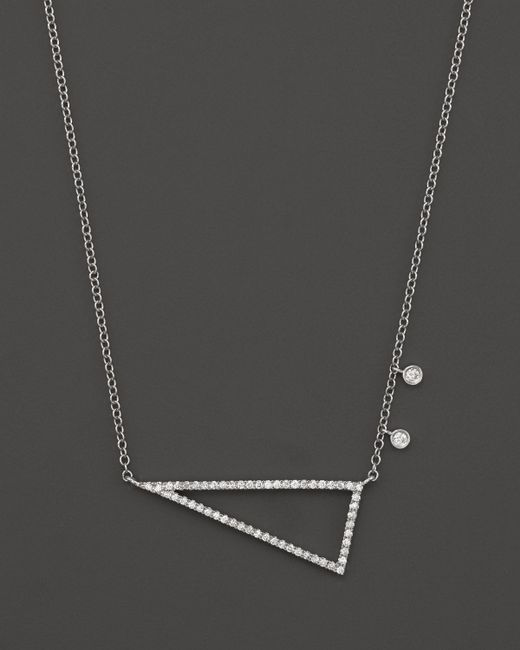 Meira T | 14k White Gold Side Triangle Necklace With Diamonds, 16"