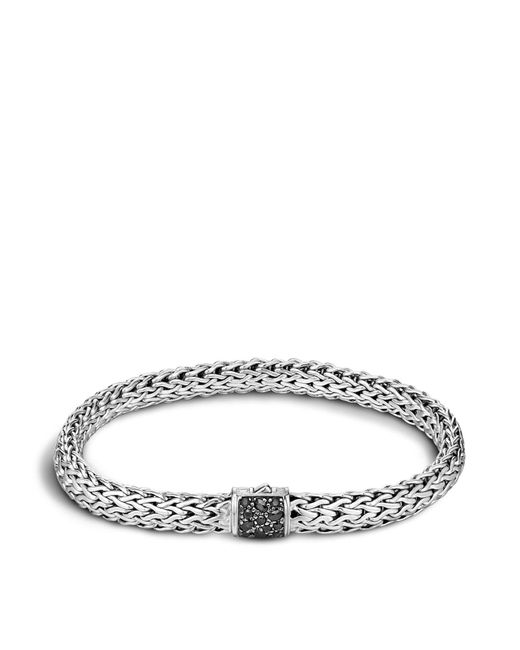 John Hardy | Men's Classic Chain Sterling Silver Lava Medium Bracelet With Black Sapphires for Men | Lyst