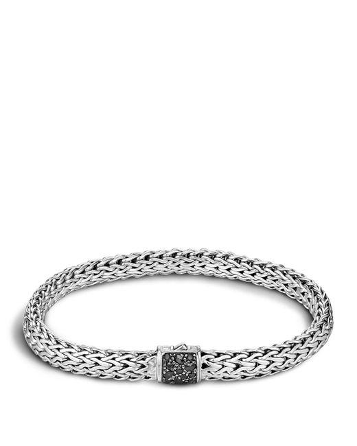 John Hardy | Men's Classic Chain Sterling Silver Lava Medium Bracelet With Black Sapphires for Men | Lyst