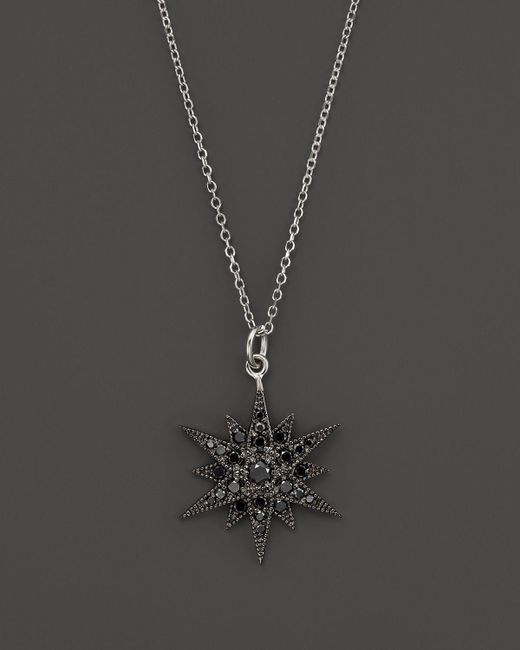 "KC Designs | Black Diamond Starburst Pendant Necklace In 14k White Gold, 18"" - 100% Exclusive | Lyst"