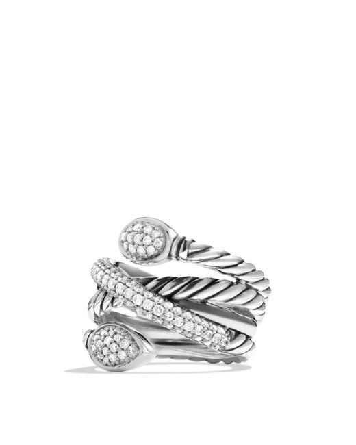 David Yurman   Metallic Renaissance Crossover Ring With Diamonds   Lyst
