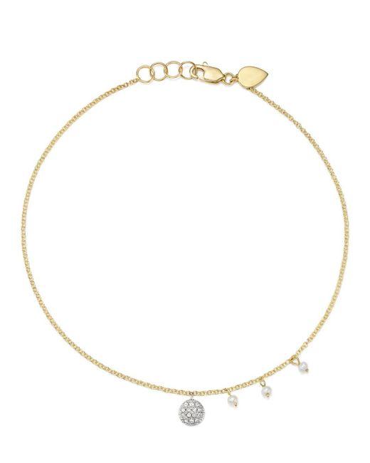 Meira T - Metallic 14k White & Yellow Gold Diamond Disc & Cultured Freshwater Pearl Charm Ankle Bracelet - Lyst
