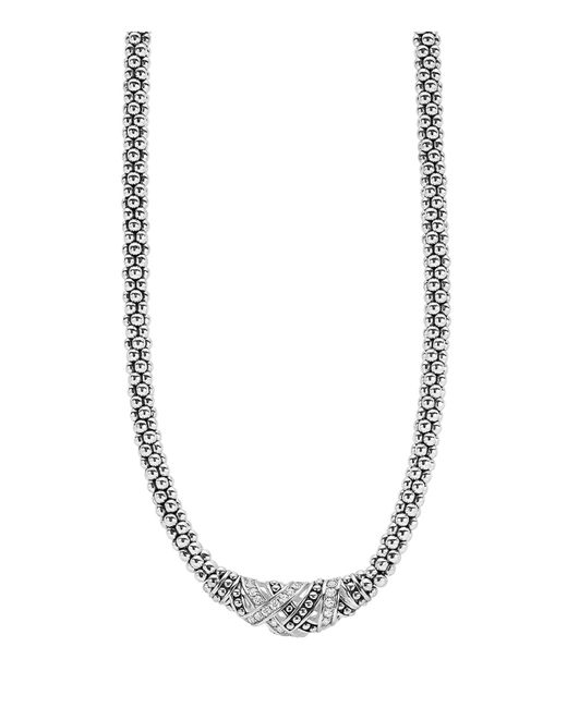 Lagos | White Caviar Station Two Tone Necklace | Lyst