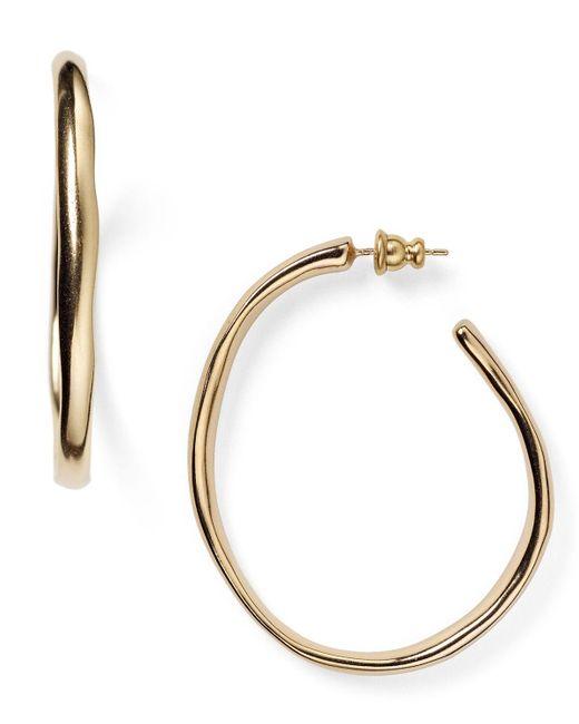 Uno De 50   Metallic Ohm Hoop Earrings   Lyst