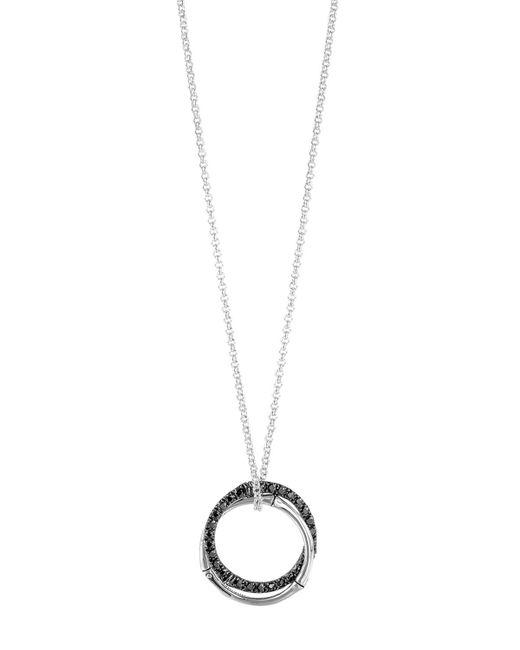 "John Hardy | Metallic Sterling Silver Bamboo Lava Medium Interlink Pendant Necklace With Black Sapphires, 16"" | Lyst"