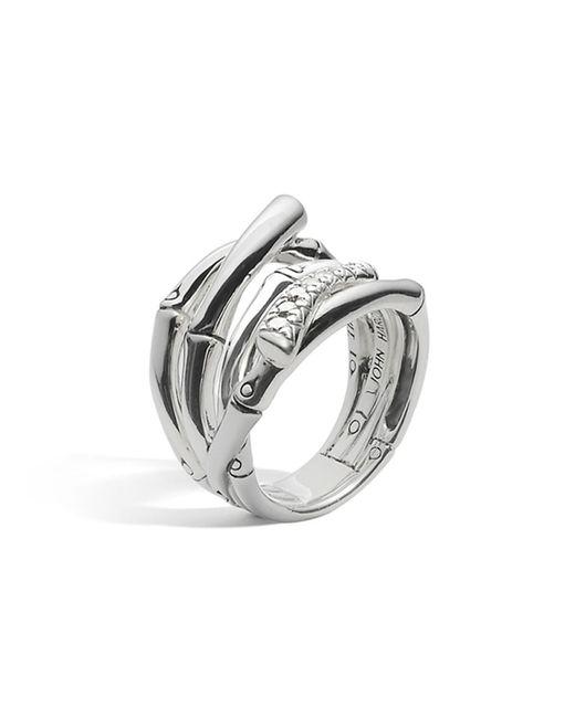 John Hardy | Metallic Women's Sterling Silver Bamboo Diamond Pavé Wide Ring | Lyst