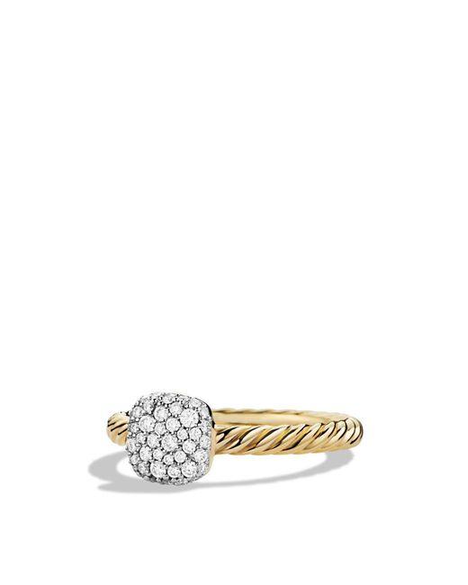 David Yurman | Metallic Petite Pavé Cushion Ring With Diamonds In Gold | Lyst